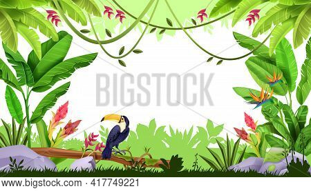 Jungle Vector Frame, Tropical Forest Nature Border, Toucan, Liana, Exotic Flowers, Green Grass, Bana