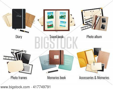 Six Isolated Compositions Of Memories Books Diaries Photo Albums Travel Book Photo Frames Cartoon Ve