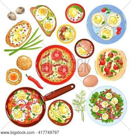 Set Of Icons Dishes From Quail And Hen Eggs With Vegetables Mushrooms And Greenery Isolated Vector I
