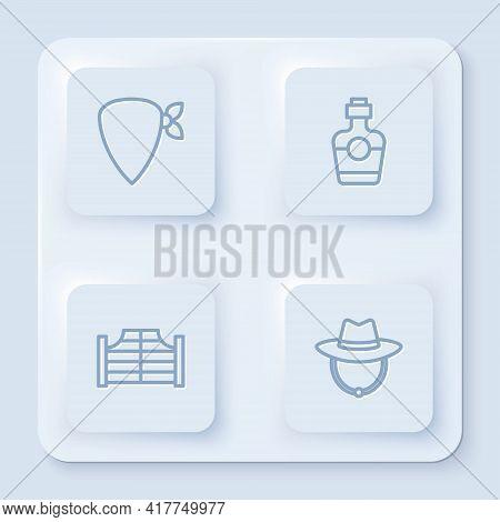 Set Line Cowboy Bandana, Tequila Bottle, Saloon Door And Western Cowboy Hat. White Square Button. Ve