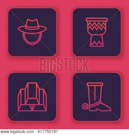 Set Line Western Cowboy Hat, Gold Bars, Drum And Cowboy Boot. Blue Square Button. Vector