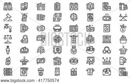 Anti-money Laundry Icons Set. Outline Set Of Anti-money Laundry Vector Icons For Web Design Isolated