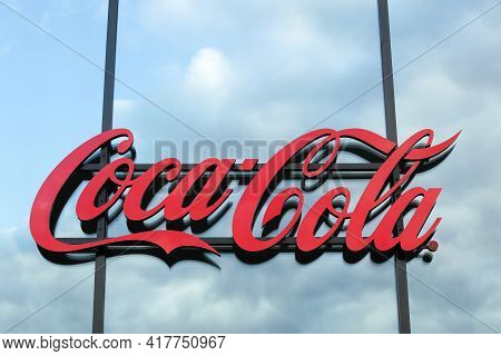 Berlin, Germany - July 11, 2020: Coca Cola Logo On A Wall. Coca-cola Is A Carbonated Soft Drink. It
