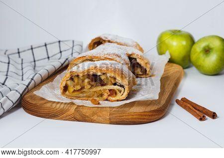 Tasty Homemade Apple Strudel On Paper Napkin