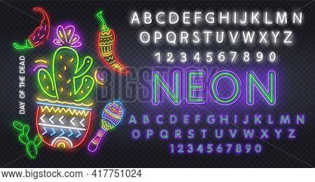 Day Of The Dead Neon Concept. Vector Illustration Of Mexican Holiday Promotion. Dia De Los Muertos N