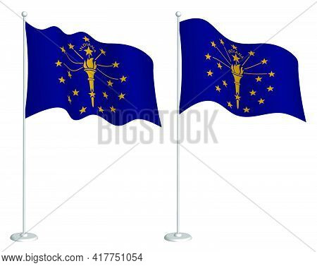 Flag Of American State Of Indiana On Flagpole Waving In Wind. Holiday Design Element. Checkpoint For