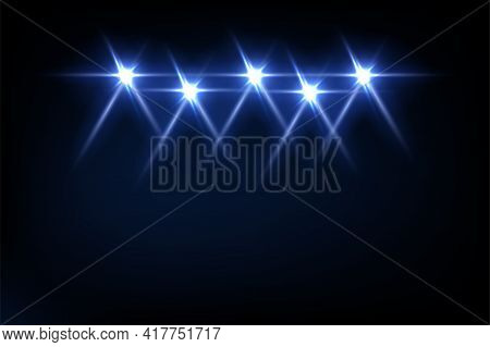 Blue Light From Projectors On Black Background. Spotlight With Beams Effect On Stage Vector Illustra