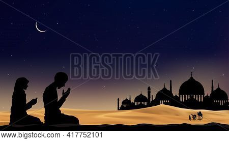 Eid Mubarak Card With Mosque Silhouette With Crescent Moon And Star At Night,muslim Man And Woman Ma