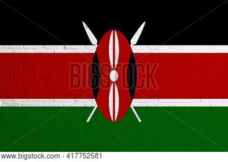 Flag Of Kenya Brick Wall Texture Of The Flag Of Kenya.