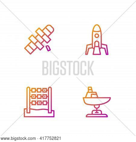 Set Line Swing Boat, Tic Tac Toe Game, Hopscotch And Rocket Ship. Gradient Color Icons. Vector