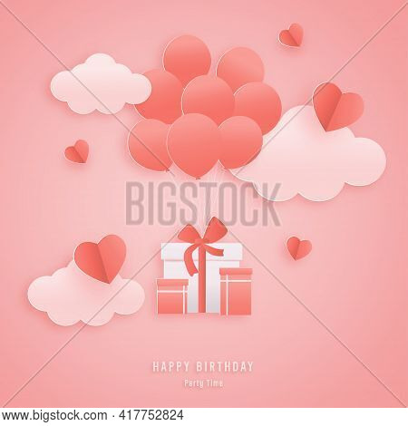 Decorated Birthday Card Beautiful Three Gift Box, Balloon In The Could Paper Style, Paper Cut, And P