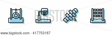 Set Line Hopscotch, Car Tire Hanging On Rope, Basketball Backboard And Tic Tac Toe Game Icon. Vector