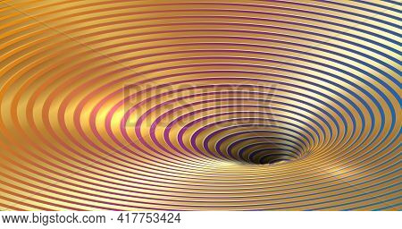 Banner Wormhole Optical Illusion, Geometric Fashion Colorful And Golden Luxury Abstract Hypnotic Wor