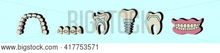 Set Of Cute Cartoon Denture Icon Design Template With Various Models. Modern Vector Illustration Iso