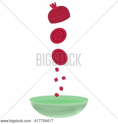 Ripe Maroon Beetroot Falls In Pieces Into A Plate On A White Background. Sliced Beetroot Slices
