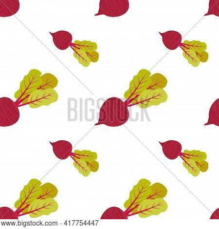 Seamless Pattern Of Ripe Beets With Tops On A Transparent Background. Drawing For Packaging And Prin