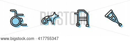 Set Line Walker, Wheelchair, Dog In Wheelchair And Crutch Or Crutches Icon. Vector