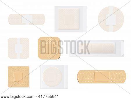 Creative Vector Illustration Of Adhesive Bandage Elastic Medical Plasters Set Isolated. Colorful San