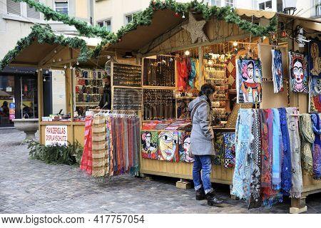 Zurich / Switzerland - November 25, 2018: Christmas Market At Zurich Near Opera Theatre, Zurich, Swi
