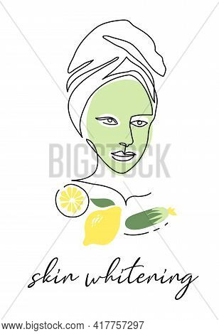 Green Face Mask With Cucumber And Lemon. Skin Whitening Vector Illustration. Face Line Art, One Line