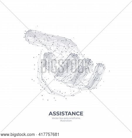 Digital 3d Hand Giving Or Taking Something. Abstract Human Arm Isolated In White. Assistance, Social