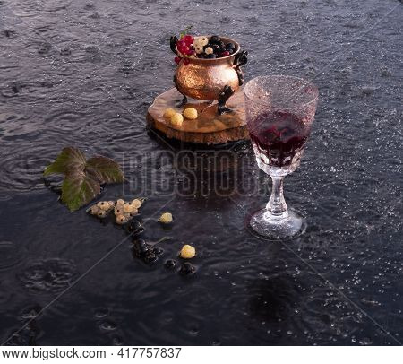 Evening Wine On The Veranda On A Hot Day In The Rain