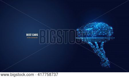 3d Hand Holding Car On The Plate. Abstract Vector Illustration In Dark Blue. Best Cars, Auto Center,