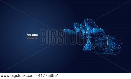 3d Hand Holding Chess Pawn. Strategy, Planning, Business Concept. Digital Vector Illustration In Dar