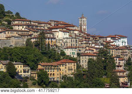 Sacro Monte (va), Italy - June 01, 2020: Pilgrimage Village Of Santa Maria Del Monte On Sacro Monte