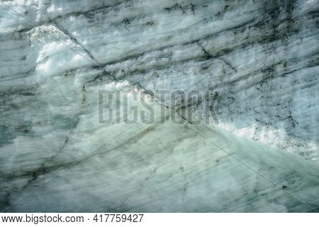Minimalist Nature Background Of Glacier Surface With Cracks And Scratches Close Up. Minimal Natural