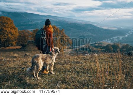 Cheerful Woman Tourist Next To Dog And Walk Friendship Journey