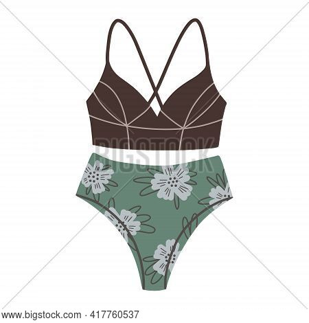 Female Two-piece Swimsuit With Floral Print. Modern Fashion Stylish Swimsui