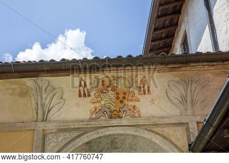 Sacro Monte (va), Italy - June 01, 2020: Facade Detail At Pilgrimage Village Of Santa Maria Del Mont