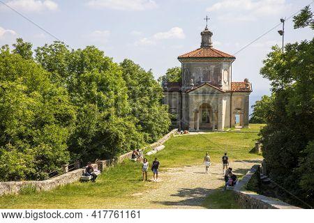 Sacro Monte (va), Italy - June 01, 2020: A Chapel At Pilgrimage Village Of Santa Maria Del Monte On