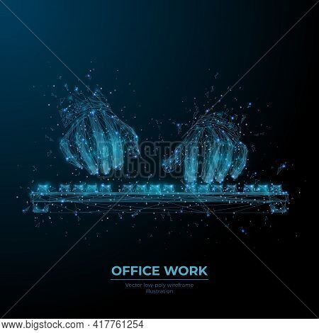 Digital 3d Human Hands Typing On Computer Or Laptop Keyboard In Dark Blue. Office Work, Workplace Or
