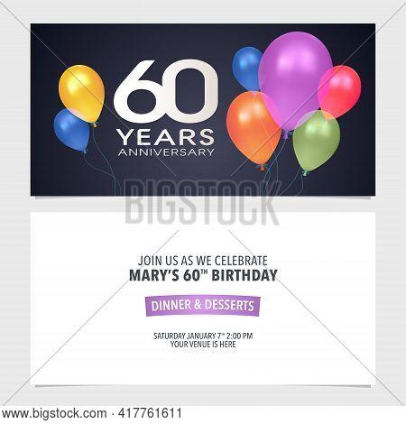 60 Years Anniversary Invitation Vector Illustration. Design Template Element