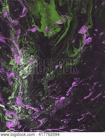Liquid Art. Abstract Black-violet-green Background With Hand-painted Marble Texture. Best For The Pr