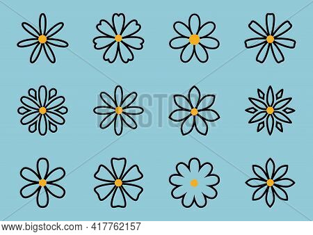 Vector Set With Cute Silhouettes Daisy Or Camomile Flowers Illustration On Blue Background. Differen