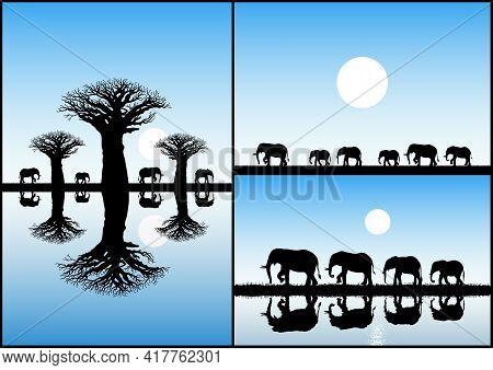 Elephant Family, Baobab Tree. Endangered Animal Isolated Silhouette