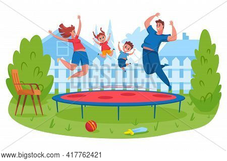Happy Family Jumping On Trampoline. Mother And Father Bounce Together With Children. Parents Spendin