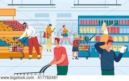 People In Store. Men And Women Shopping At Supermarket. Customers Purchasing Products. Grocery Store