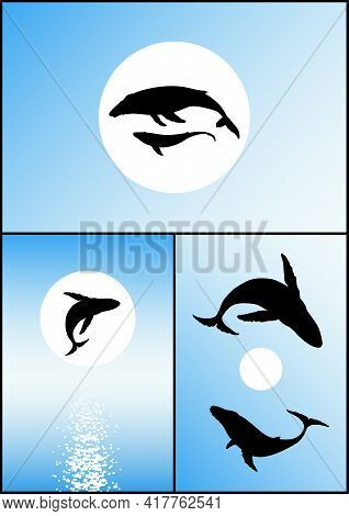 Humpback Whale Family. Endangered Animal Silhouette. Mother And Child