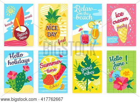 Summer Poster. Beach Party Flyer With Sea, Surfboard, Cocktails, Pineapple, Fruits, Ice Cream, Tropi