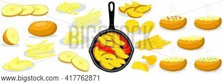 Illustration On Theme Beautiful Big Set Sweet Vegetable Potato On Black Cast Iron Pan. Vegetable Pat