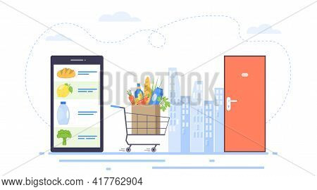 Order Grocery Online. Food Delivery Concept. Online Food Order And Food Delivery To Your Door Servic