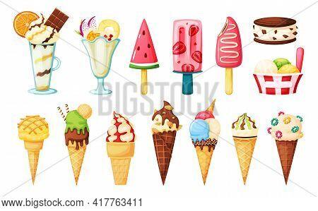 Ice Cream Cones. Strawberry Popsicle, Watermelon Fruit Ice, Vanilla Sundae, Ice Cream Sandwich. Summ