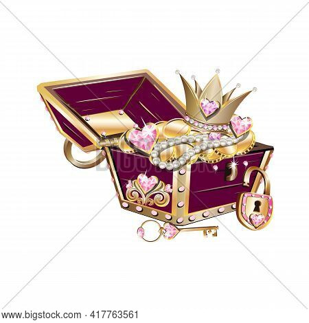 Jewelry Box With Tiara, Pearls, Pink Gems And Key For A Beautiful Princess. Fairy Tale Vector Illust
