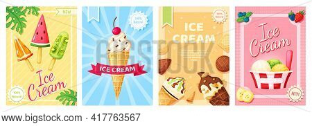 Ice Cream Poster. Cold Summer Desserts Promotional Banner. Flyer Template With Vanilla, Chocolate Su