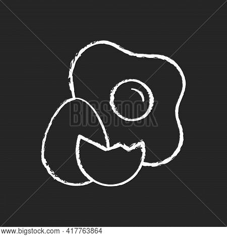 Eggs Chalk White Icon On Black Background. Cooking Ingredient. Fresh Food. Cracked Shell And Yolk. P