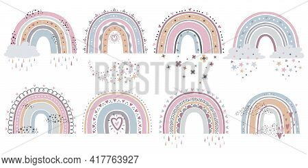Scandinavian Rainbow. Cartoon Rainbows With Clouds, Flowers And Stars In Pastel Colors For Kids Text